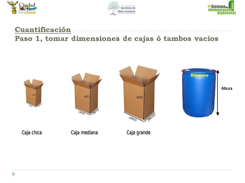 Cuantificación Paso 1, tomar dimensiones de cajas ó tambos vacios