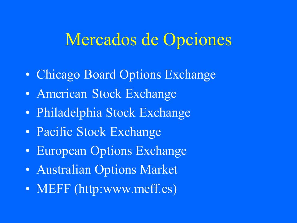 Mercados de Opciones Chicago Board Options Exchange