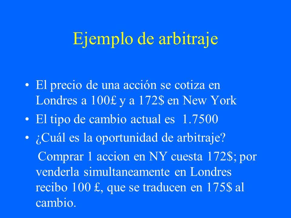 Ejemplo de arbitrajeEl precio de una acción se cotiza en Londres a 100£ y a 172$ en New York. El tipo de cambio actual es 1.7500.