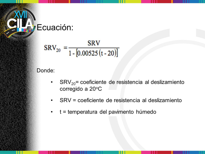 Ecuación: Donde: SRV20= coeficiente de resistencia al deslizamiento corregido a 20oC. SRV = coeficiente de resistencia al deslizamiento.