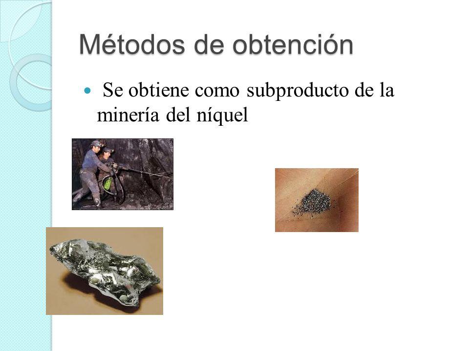 Métodos de obtención Se obtiene como subproducto de la minería del níquel