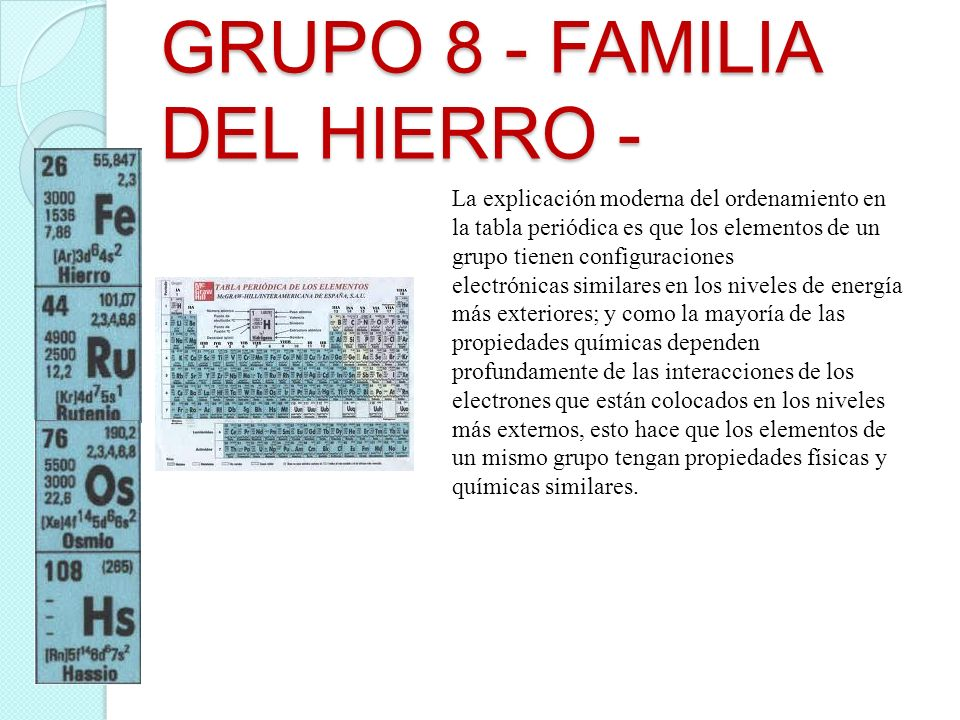 Equipo krypton familias 8 9 10 11 12 hasalas ppt descargar grupo 8 familia del hierro urtaz Choice Image