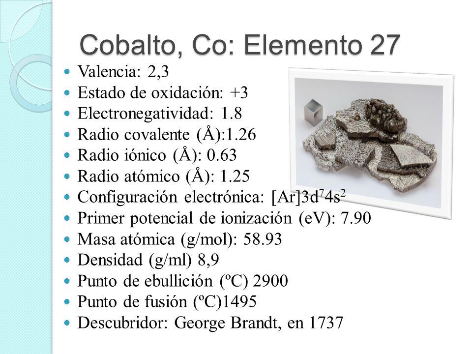Cobalto, Co: Elemento 27 Valencia: 2,3 Estado de oxidación: +3