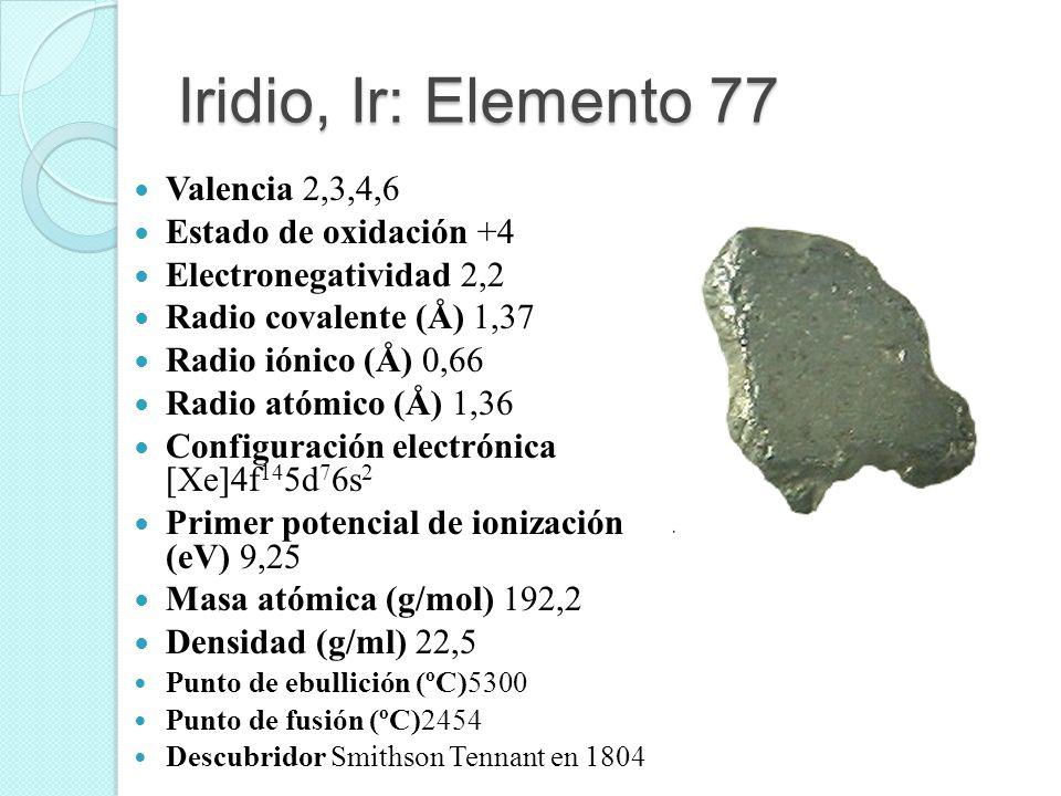 Iridio, Ir: Elemento 77 Valencia 2,3,4,6 Estado de oxidación +4