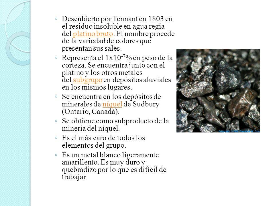 Descubierto por Tennant en 1803 en el residuo insoluble en agua regia del platino bruto. El nombre procede de la variedad de colores que presentan sus sales.