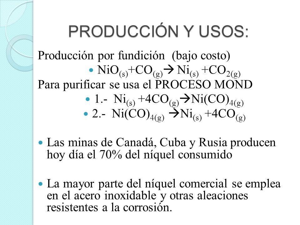 PRODUCCIÓN Y USOS: Producción por fundición (bajo costo)