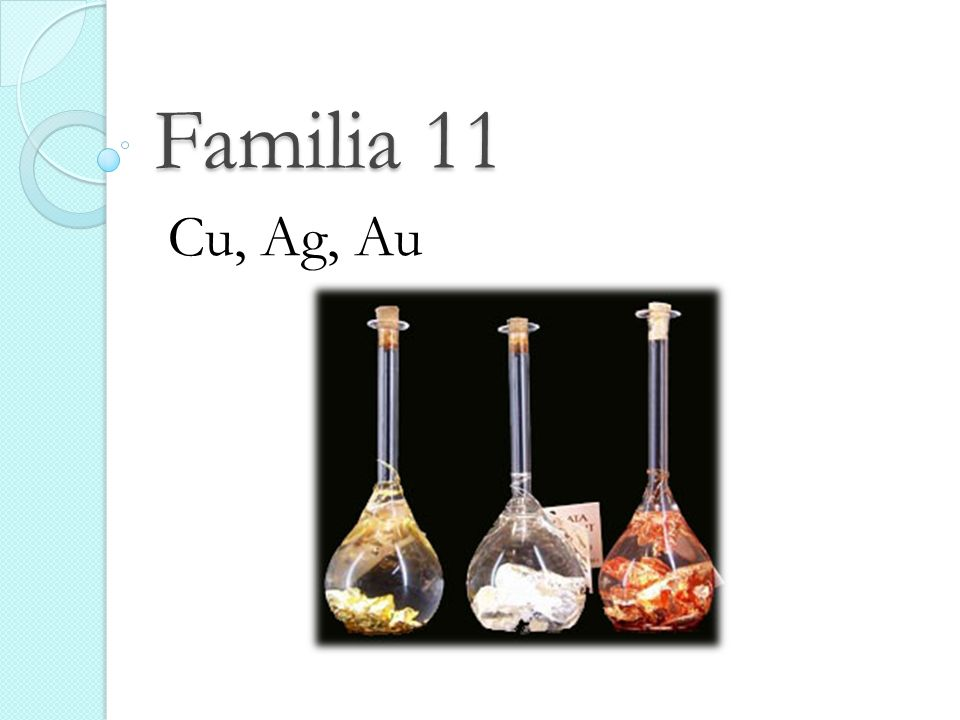 Familia 11 Cu, Ag, Au