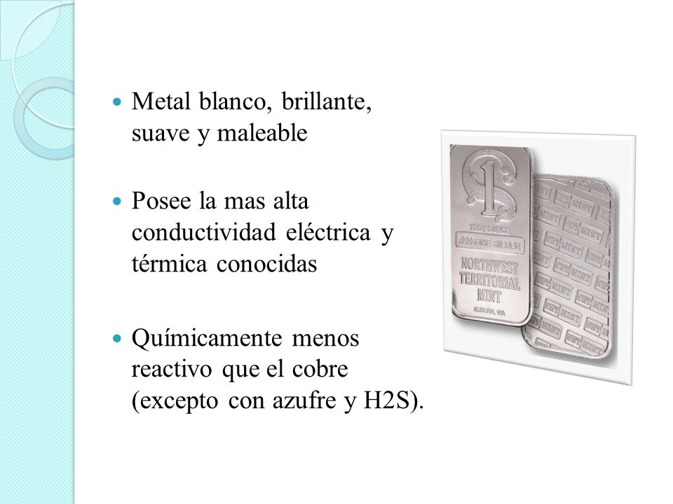 Metal blanco, brillante, suave y maleable