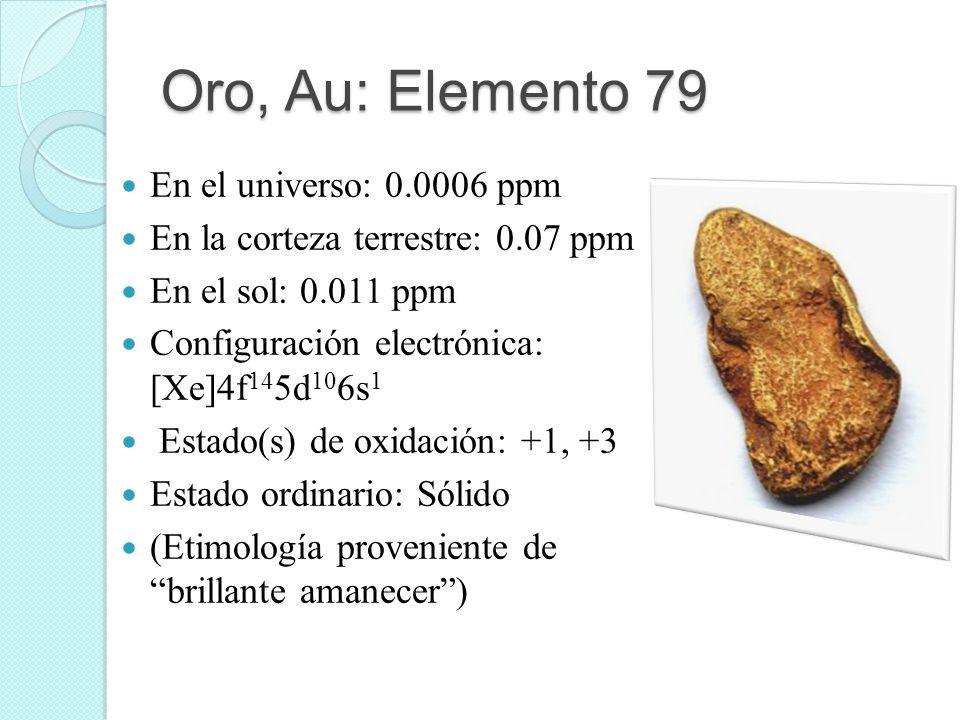 Oro, Au: Elemento 79 En el universo: 0.0006 ppm