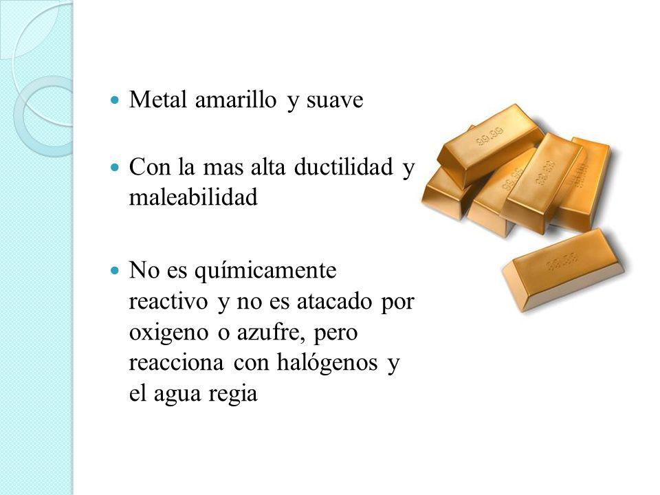 Metal amarillo y suave Con la mas alta ductilidad y maleabilidad.