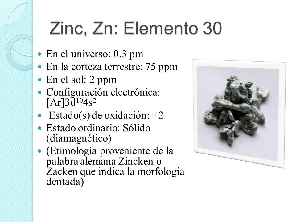 Zinc, Zn: Elemento 30 En el universo: 0.3 pm