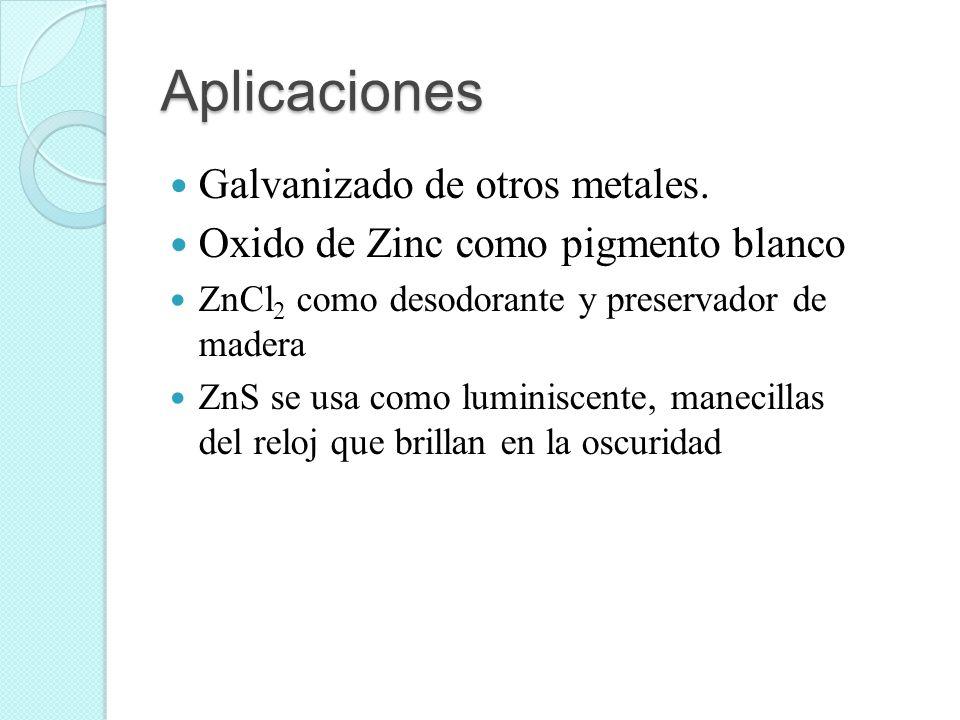Aplicaciones Galvanizado de otros metales.