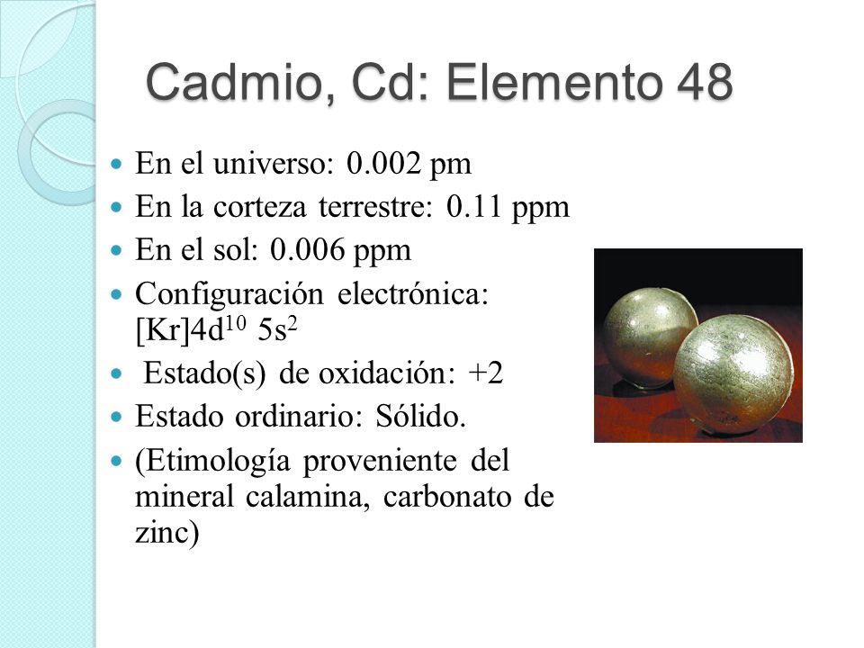 Cadmio, Cd: Elemento 48 En el universo: 0.002 pm