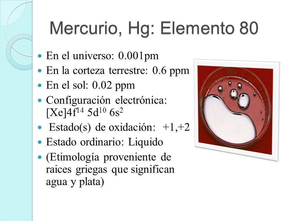 Mercurio, Hg: Elemento 80 En el universo: 0.001pm