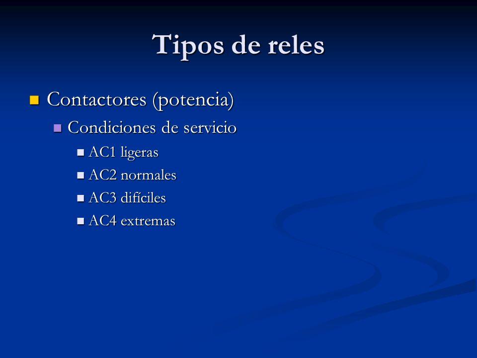 Tipos de reles Contactores (potencia) Condiciones de servicio
