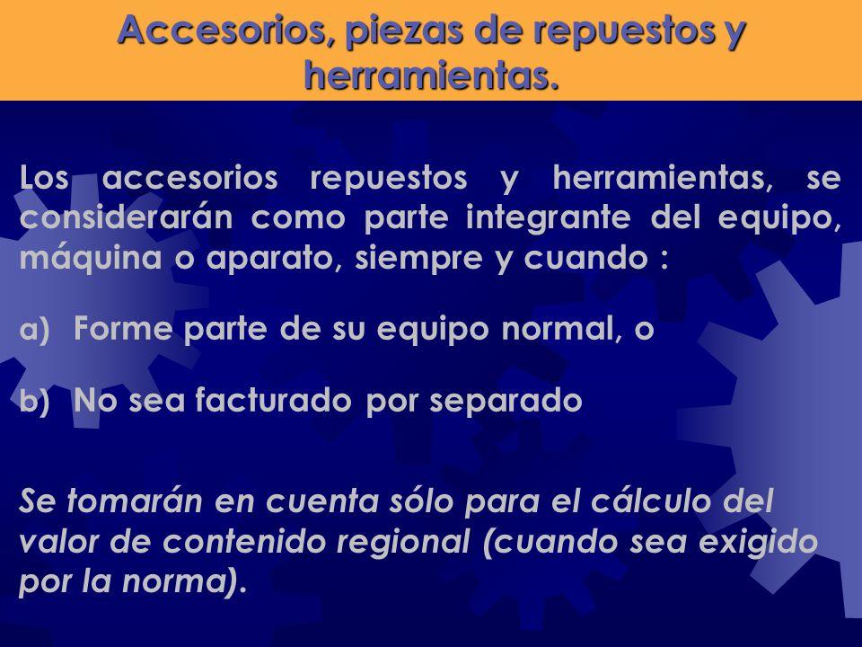 Accesorios, piezas de repuestos y herramientas.