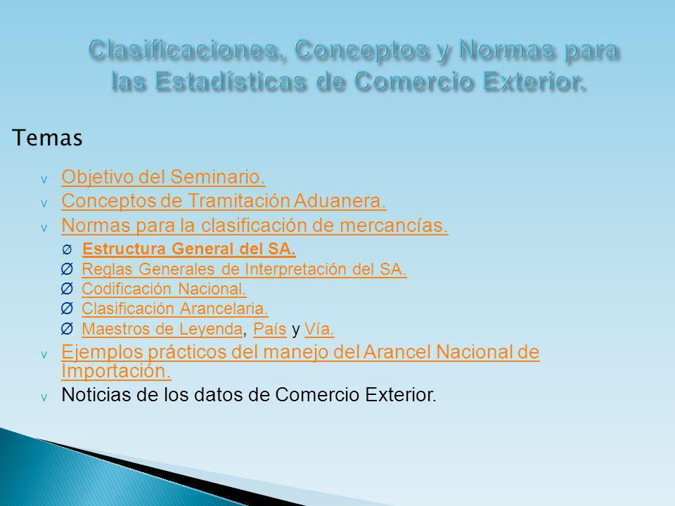Clasificaciones, Conceptos y Normas para las Estadísticas de Comercio Exterior.