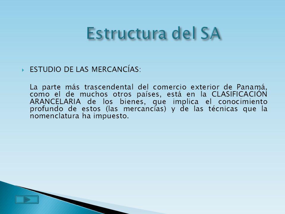 Estructura del SA ESTUDIO DE LAS MERCANCÍAS: