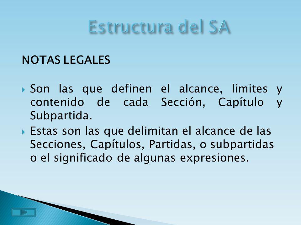 Estructura del SA NOTAS LEGALES