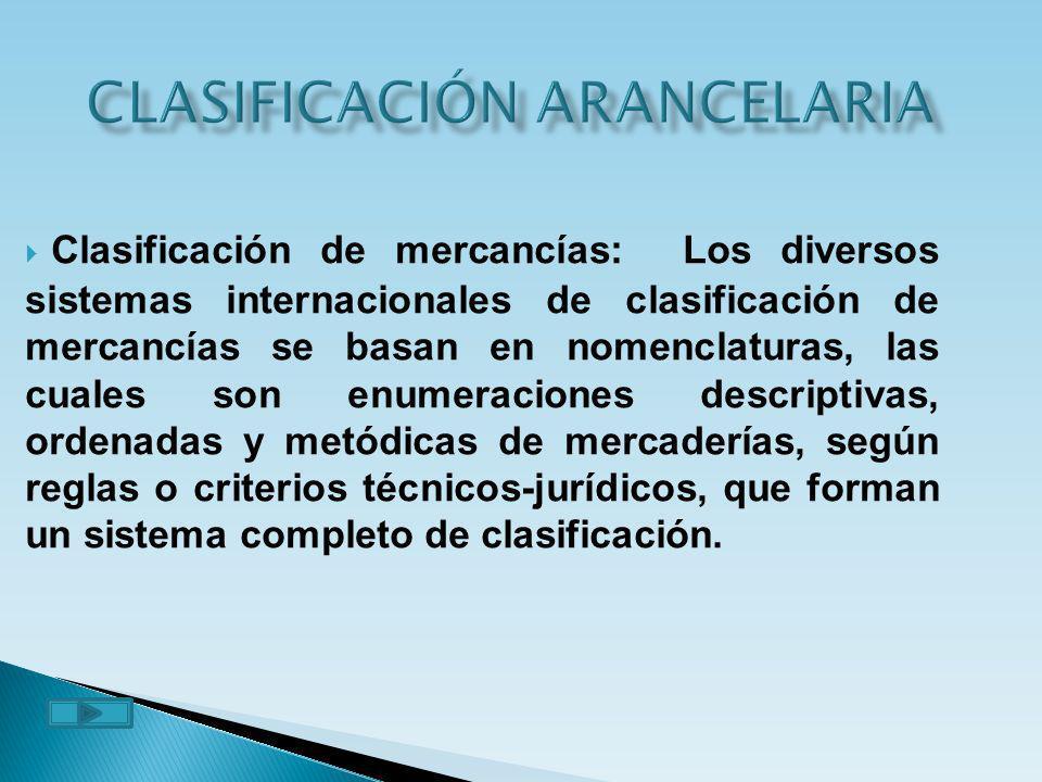 CLASIFICACIÓN ARANCELARIA