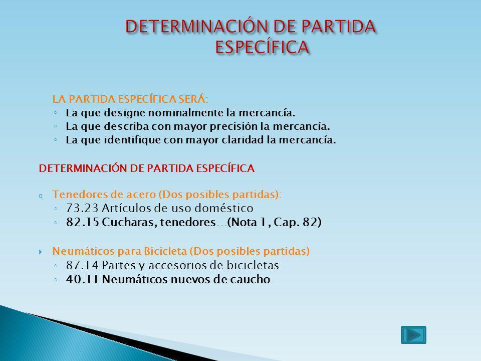 DETERMINACIÓN DE PARTIDA ESPECÍFICA
