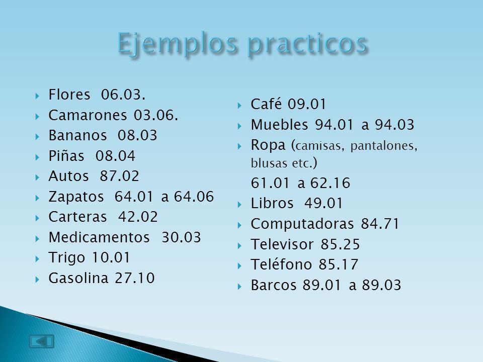 Ejemplos practicos Flores 06.03. Camarones 03.06. Bananos 08.03