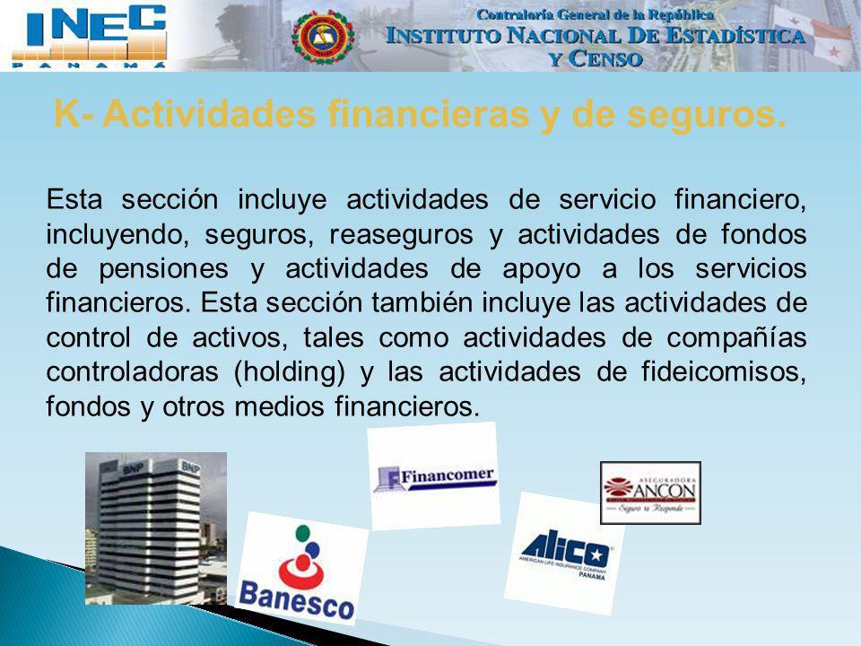 K- Actividades financieras y de seguros.