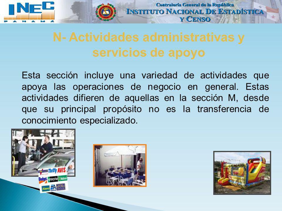 N- Actividades administrativas y servicios de apoyo
