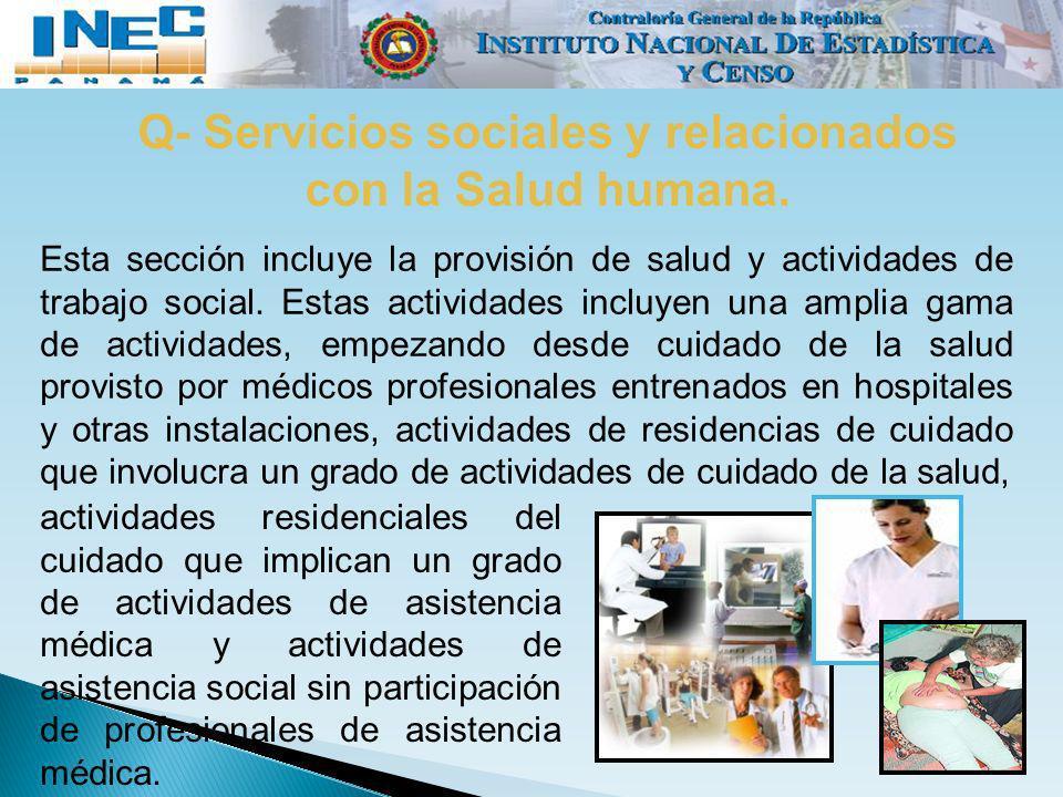 Q- Servicios sociales y relacionados con la Salud humana.