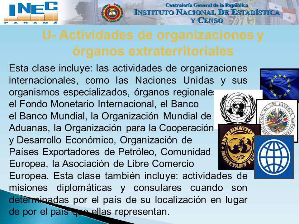U- Actividades de organizaciones y órganos extraterritoriales