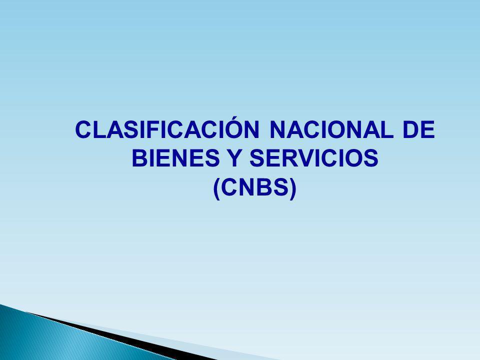 CLASIFICACIÓN NACIONAL DE BIENES Y SERVICIOS