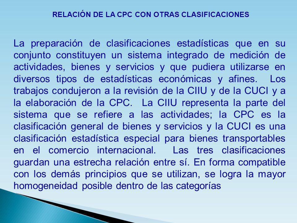 RELACIÓN DE LA CPC CON OTRAS CLASIFICACIONES