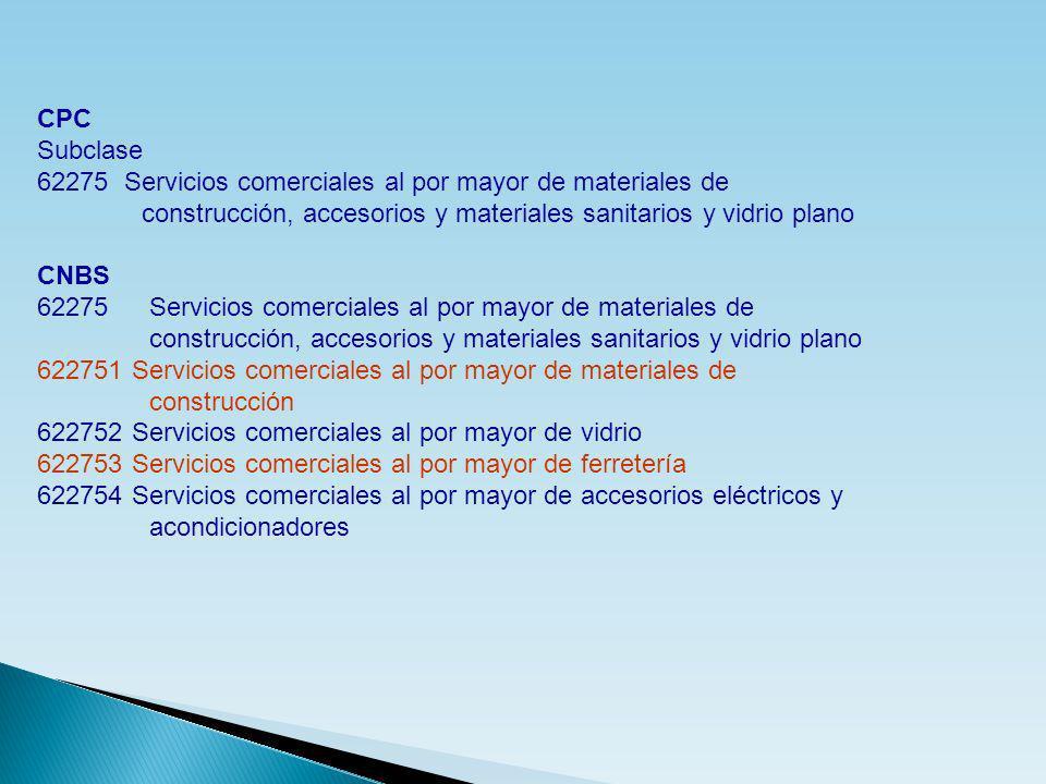 CPC Subclase. 62275 Servicios comerciales al por mayor de materiales de. construcción, accesorios y materiales sanitarios y vidrio plano.