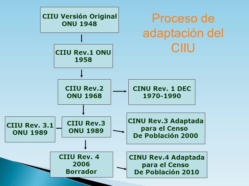 Proceso de adaptación del CIIU