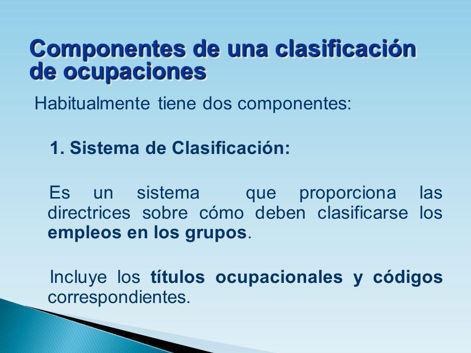 Componentes de una clasificación de ocupaciones