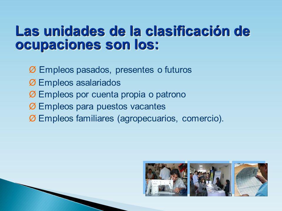 Las unidades de la clasificación de ocupaciones son los:
