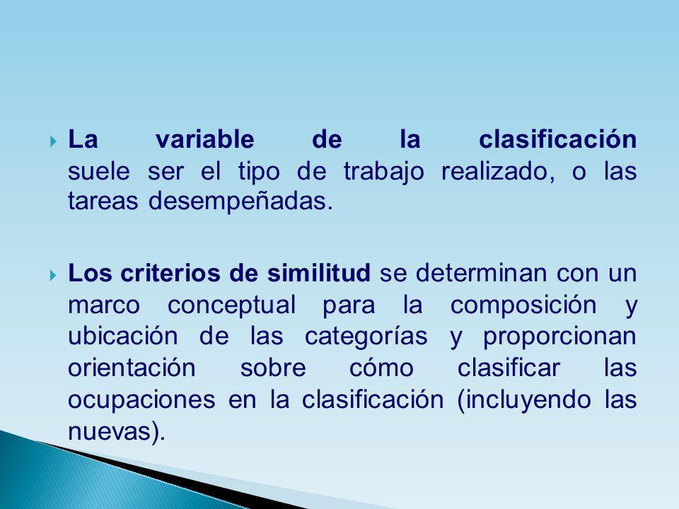 La variable de la clasificación suele ser el tipo de trabajo realizado, o las tareas desempeñadas.