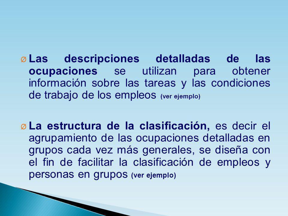 Las descripciones detalladas de las ocupaciones se utilizan para obtener información sobre las tareas y las condiciones de trabajo de los empleos (ver ejemplo)