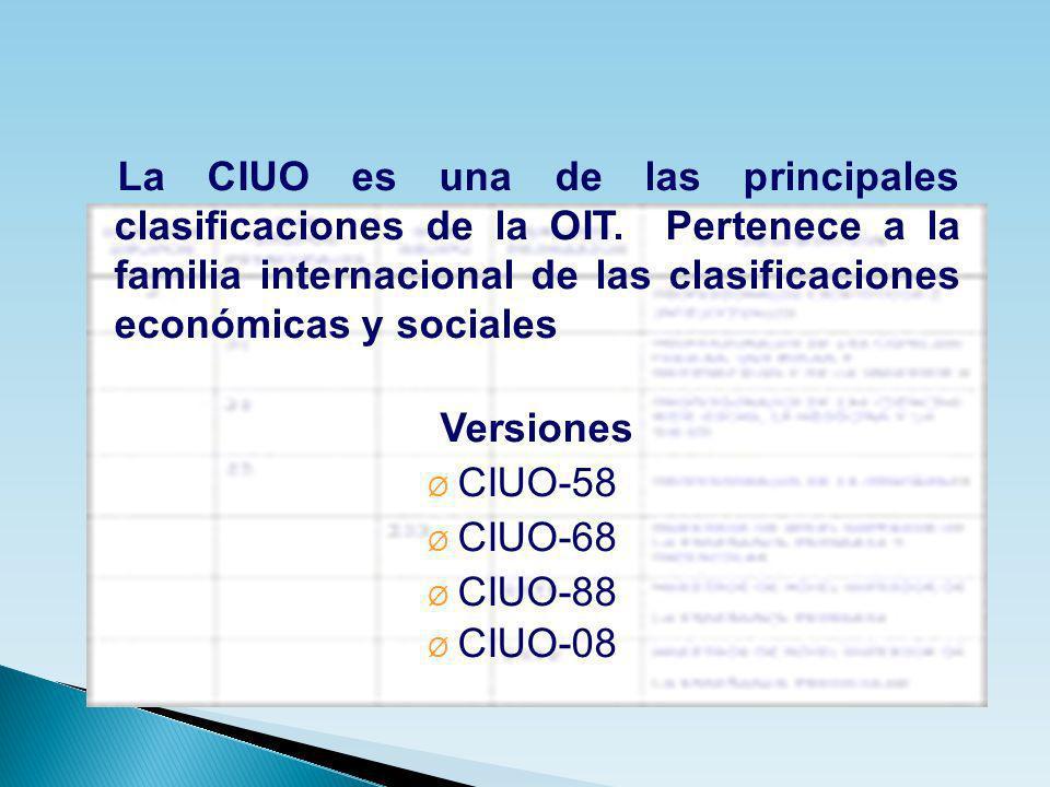 La CIUO es una de las principales clasificaciones de la OIT