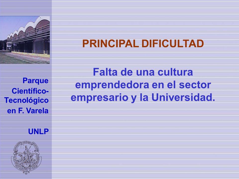 PRINCIPAL DIFICULTAD Falta de una cultura emprendedora en el sector empresario y la Universidad. Parque.