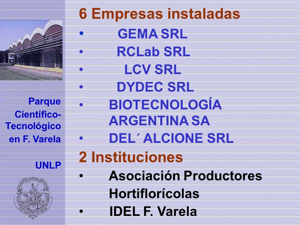 6 Empresas instaladas GEMA SRL 2 Instituciones RCLab SRL LCV SRL