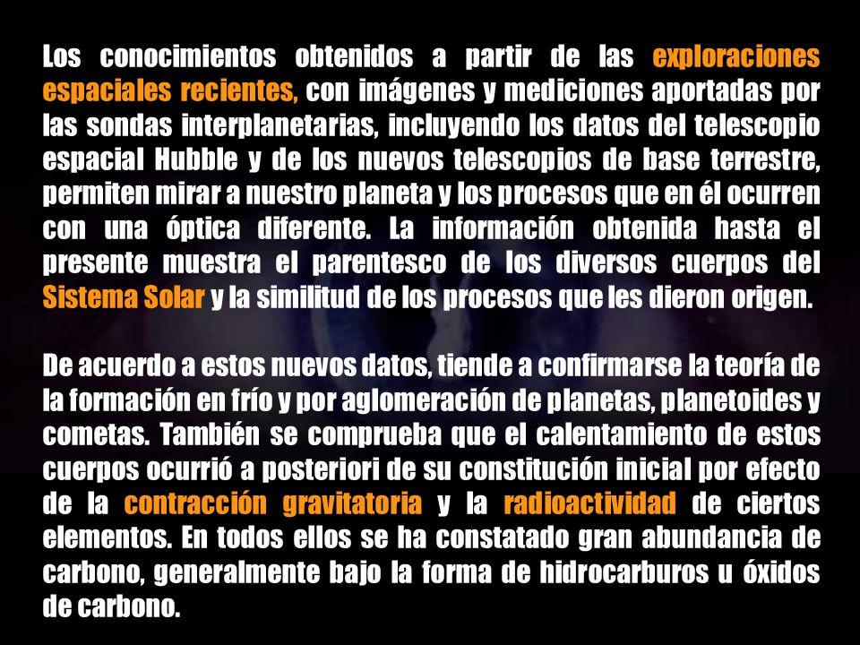 Los conocimientos obtenidos a partir de las exploraciones espaciales recientes, con imágenes y mediciones aportadas por las sondas interplanetarias, incluyendo los datos del telescopio espacial Hubble y de los nuevos telescopios de base terrestre, permiten mirar a nuestro planeta y los procesos que en él ocurren con una óptica diferente. La información obtenida hasta el presente muestra el parentesco de los diversos cuerpos del Sistema Solar y la similitud de los procesos que les dieron origen.
