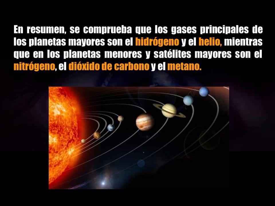 En resumen, se comprueba que los gases principales de los planetas mayores son el hidrógeno y el helio, mientras que en los planetas menores y satélites mayores son el nitrógeno, el dióxido de carbono y el metano.
