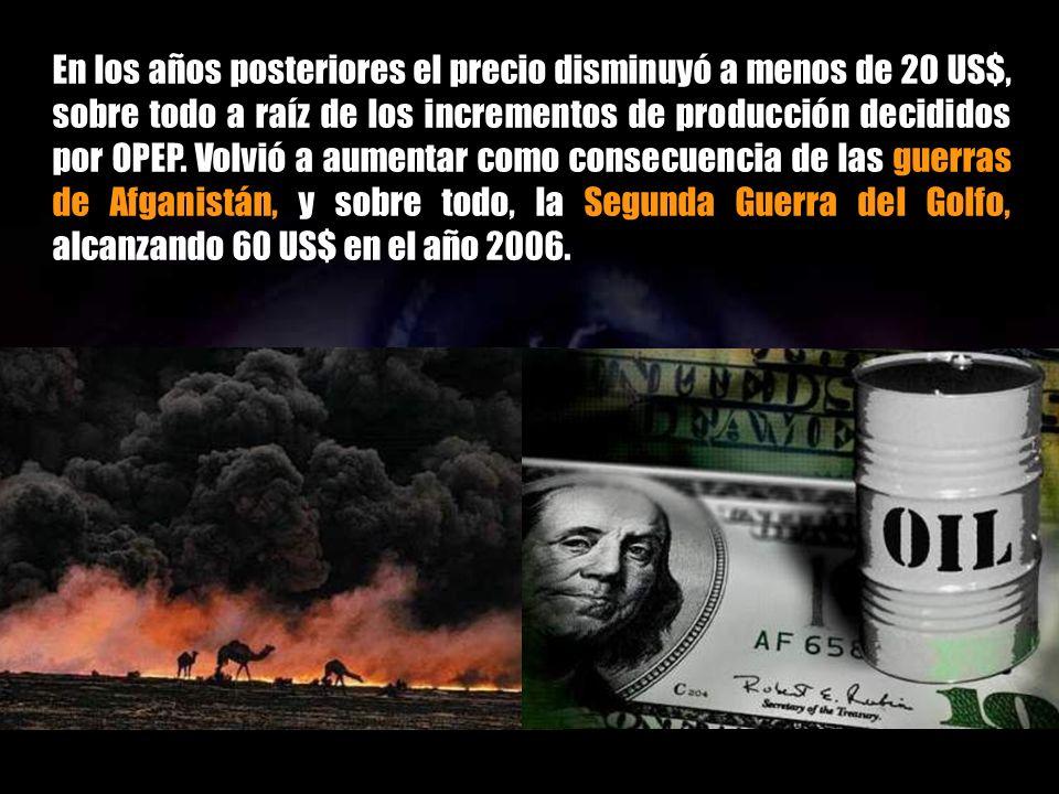 En los años posteriores el precio disminuyó a menos de 20 US$, sobre todo a raíz de los incrementos de producción decididos por OPEP.