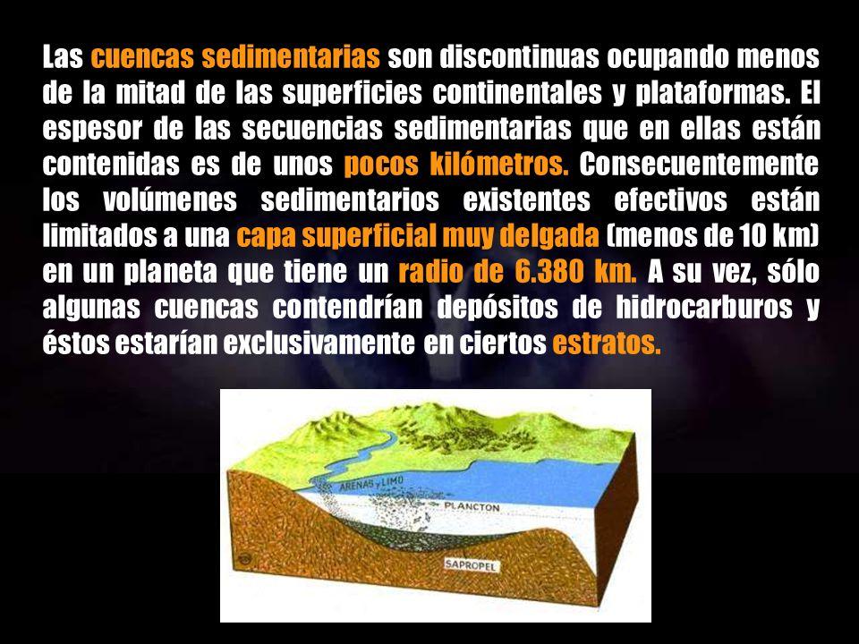 Las cuencas sedimentarias son discontinuas ocupando menos de la mitad de las superficies continentales y plataformas.