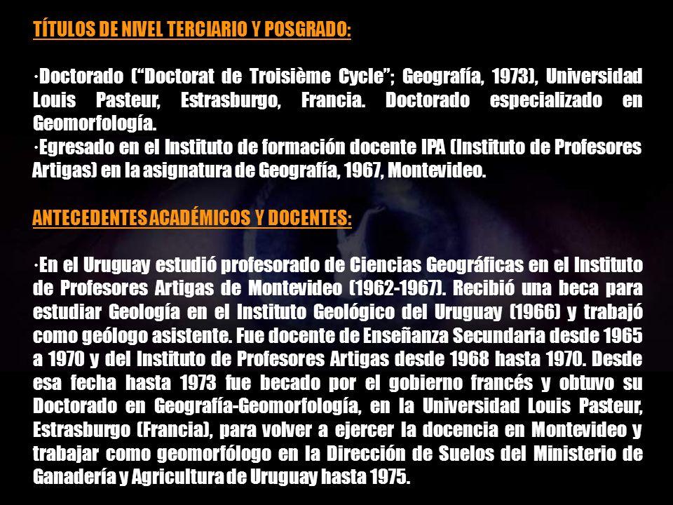 TÍTULOS DE NIVEL TERCIARIO Y POSGRADO: