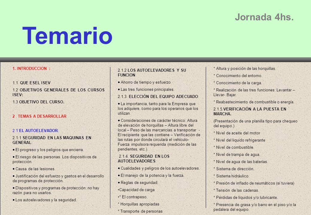 Temario Jornada 4hs. 1. INTRODUCCION : 1.1 QUE ESEL ISEV