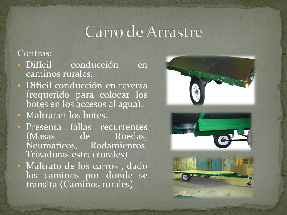 Carro de Arrastre Contras: Difícil conducción en caminos rurales.