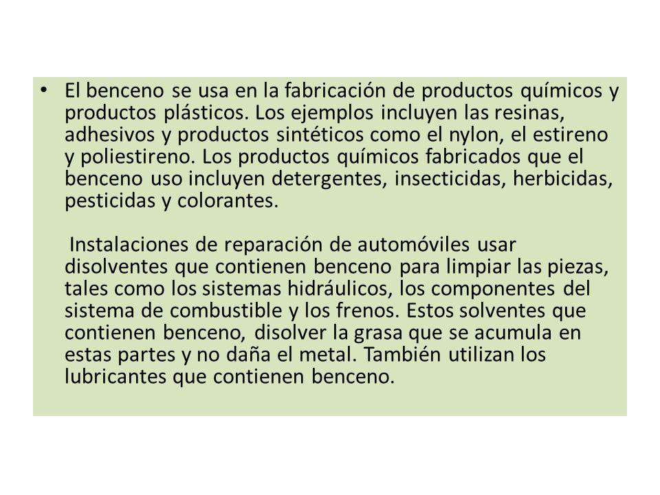 El benceno se usa en la fabricación de productos químicos y productos plásticos.
