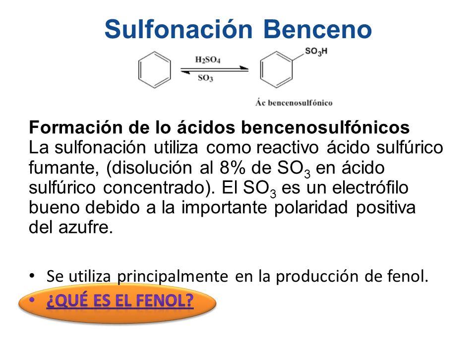 Sulfonación Benceno Formación de lo ácidos bencenosulfónicos